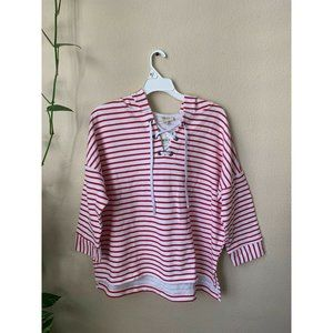 3/$30 Style & Co L Jacket Red White Strip Hoodie
